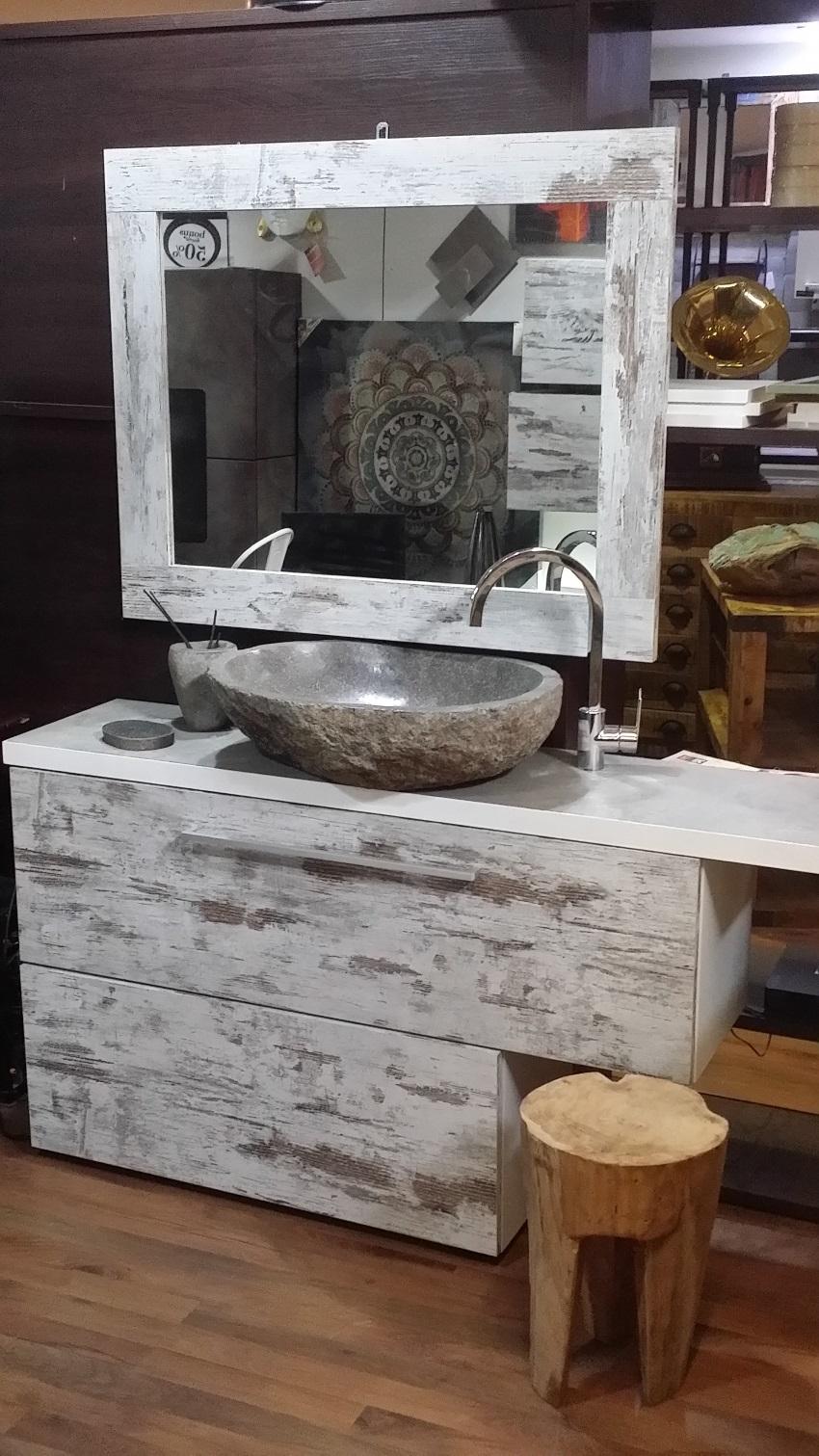 mobile bagno vintage minimal white decape' iroko zen in offerta ... - Arredo Bagno Vintage