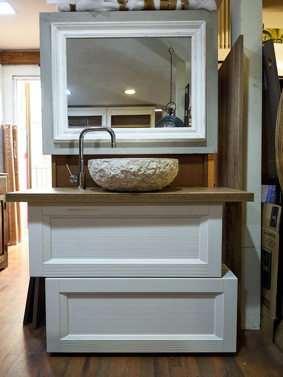 Mobile bagno vintage shabby chic doppio modulo white in for Lavabo shabby chic