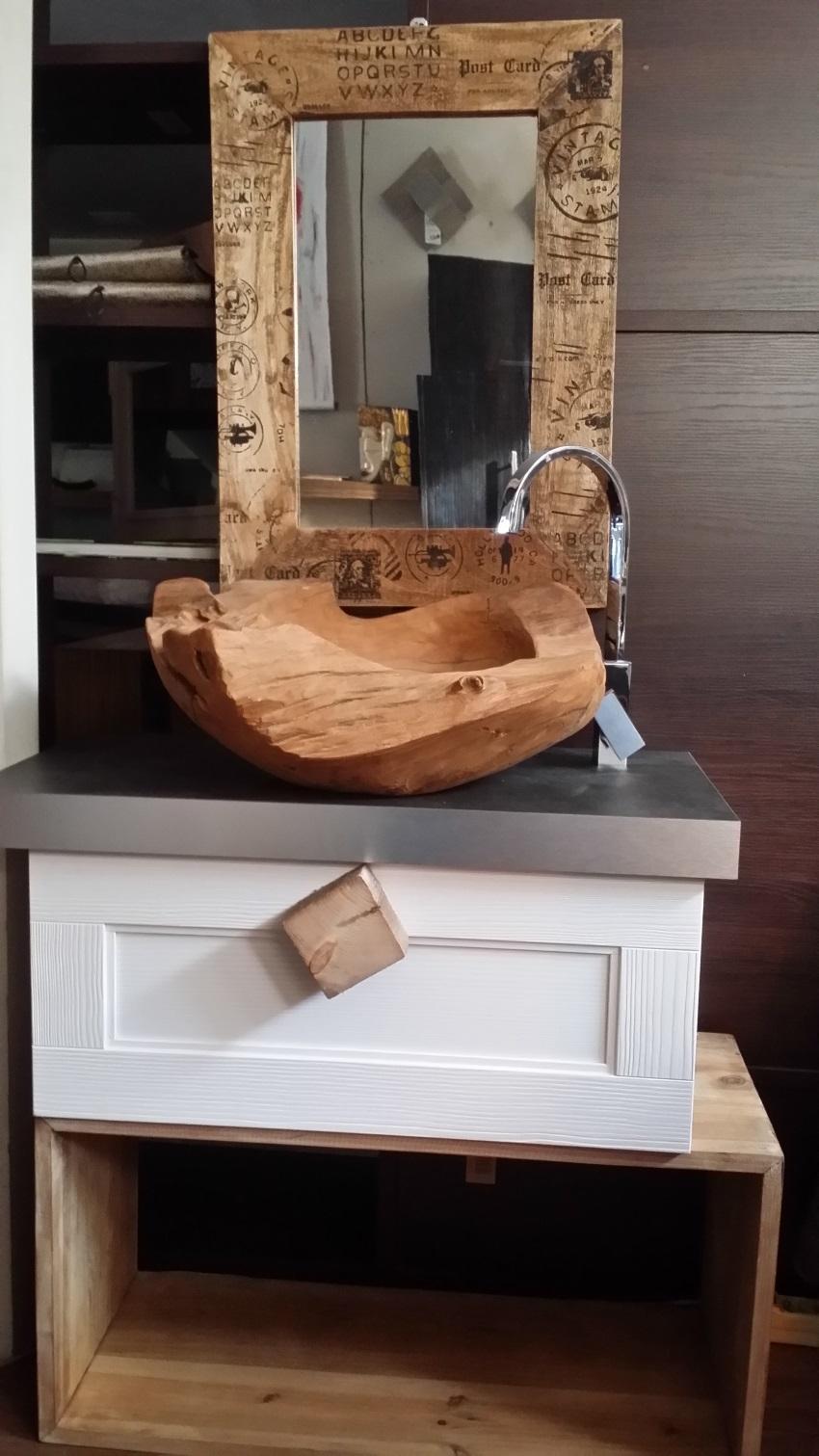 mobile bagno vintage zen in legno white essential etnico inofferta ... - Arredo Bagno Vintage