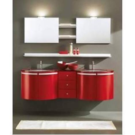 Mobile bagno Yen laccato rosso - Arredo bagno a prezzi scontati