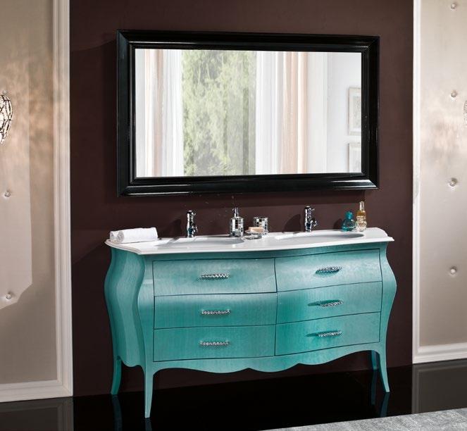 Mobile bombato in legno per bagno due lavabi arredo bagno a prezzi scontati - Mobile legno bagno ...