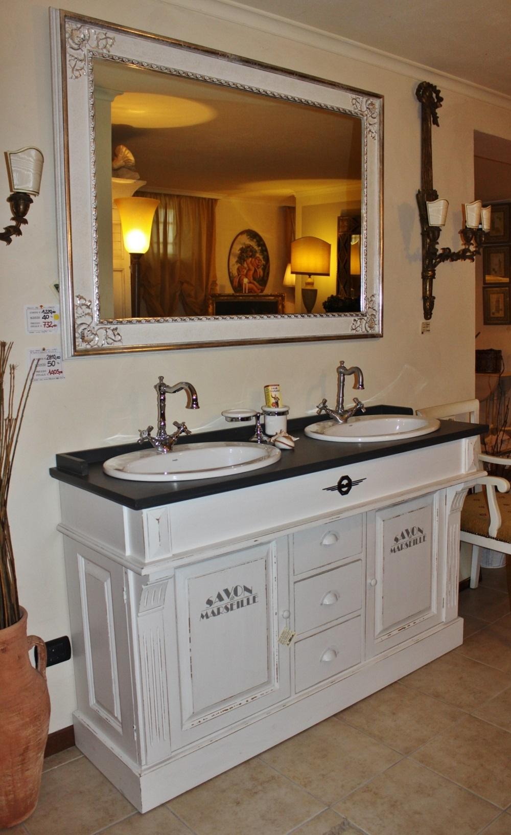 Mobile da bagno con doppio lavabo dialma brown in offerta for Lavabo con lavatrice