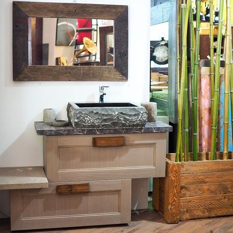 mobile da bagno design effetto sabbia in offerta outlet nuovimondi completo con specchio e ...