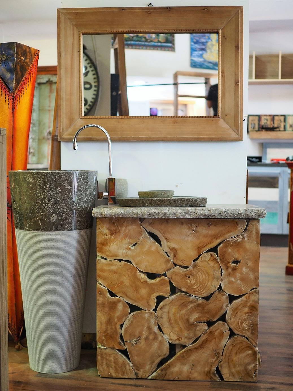 Mobile da bagno con lavabo e colonna in granito india for Mobile da bagno