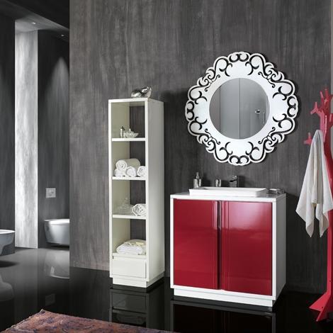 Mobile da bagno lavandino incasso con specchiera e colonna - Specchiera bagno legno ...