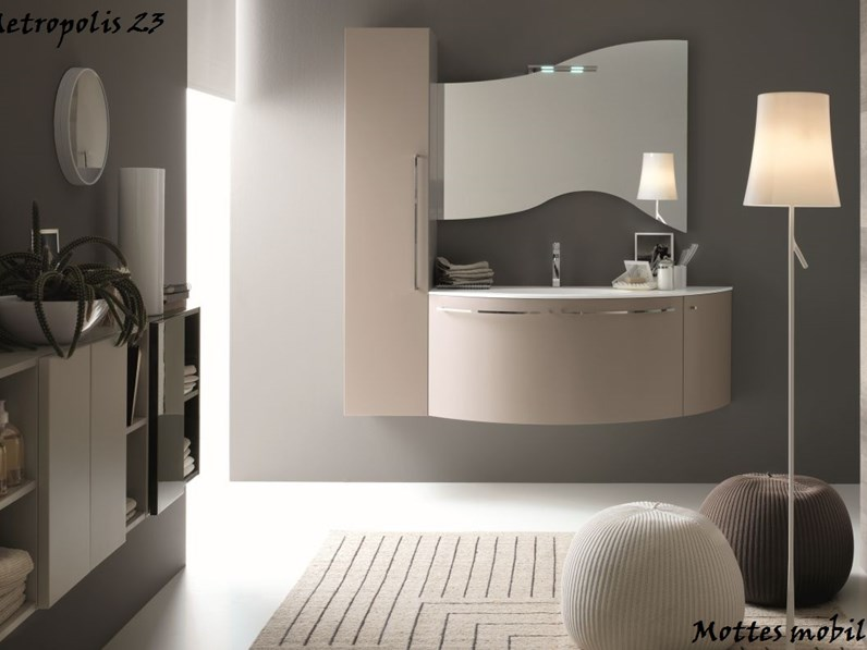 Mobile da bagno moderno sospeso con lavabo ad incasso in mineralmarmo