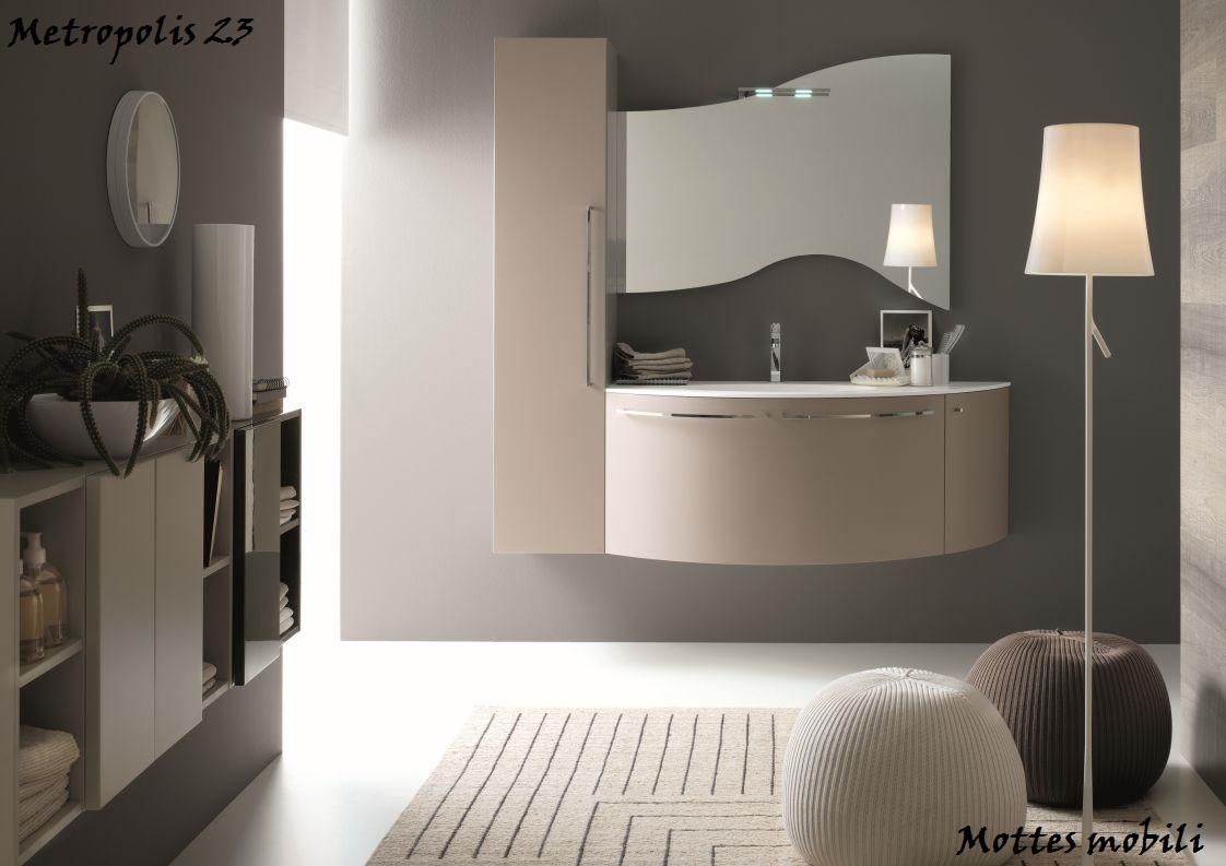 Mobile da bagno moderno sospeso con lavabo ad incasso in for Arredo bagno moderno sospeso