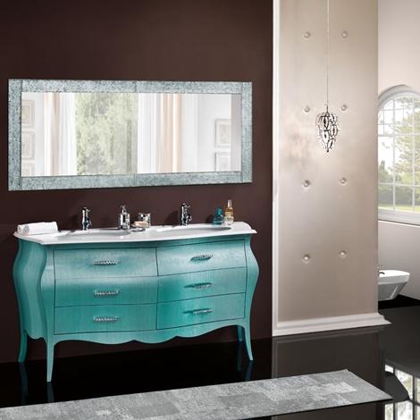 Mobile in legno bombato per bagno due lavabi arredo for Arredo bagno in legno