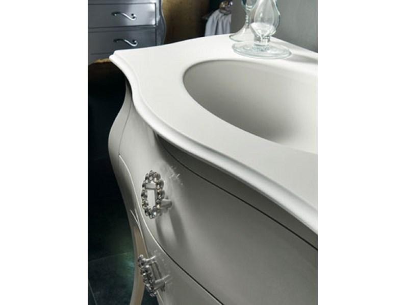 Mobile in legno con cassettoni bomabato lavello in mineralmarmo bianco - Lavello bagno con mobile ...