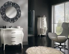 Arredo bagno mobile in legno pattinato bianco con lavello ad incasso in mineralmarmo