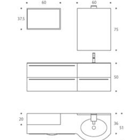 Mobile laccato grigio pietra opaco arredo bagno a prezzi for Misure mobili bagno