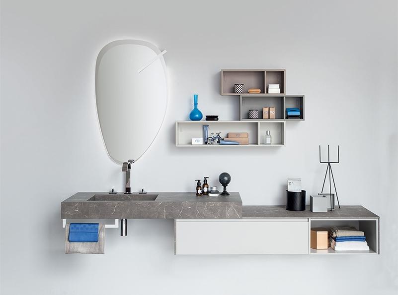 Mobile per bagno con composizione di vani a giorno by rab for Nuovo arredo camerette prezzi