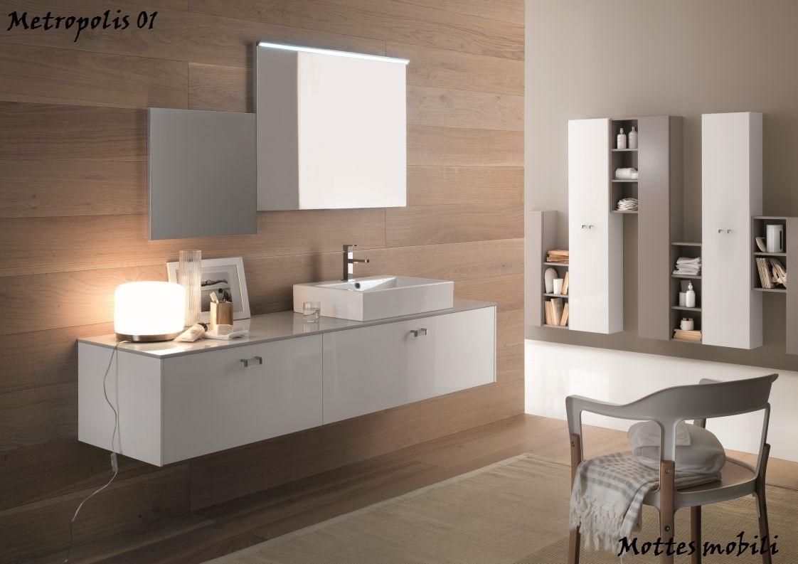 Mobile sospeso laccato bianco lavello in ceramica arredo - Mobile lavello bagno ...