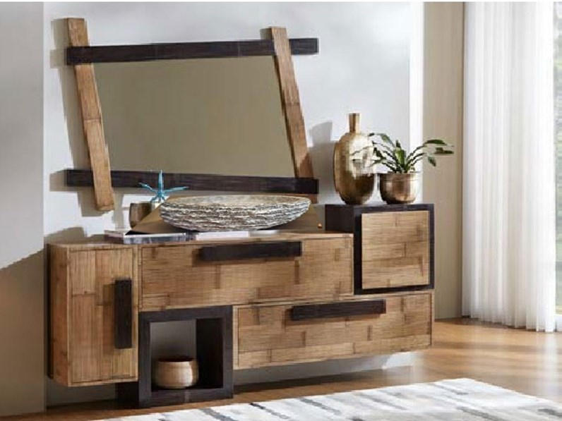 Mobilel bagno legno e bambu minimal design a prezzi for Mobile bagno minimal