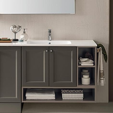 Mobiletto per bagno con vano a giorno e ante by rab - Mobiletto con specchio per bagno ...