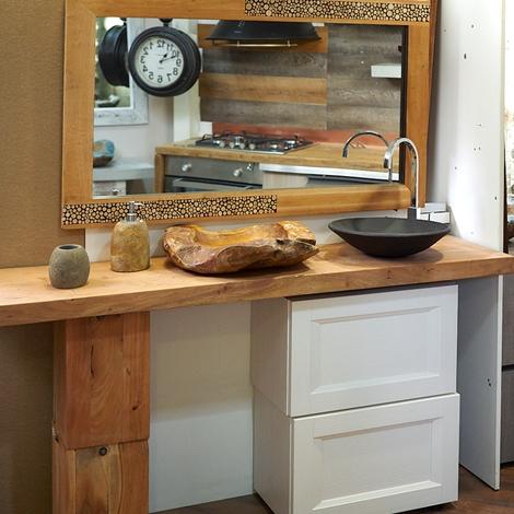 Nuovi mondi cucine arredo bagno consolle in legno massello - Specchio bagno legno ...