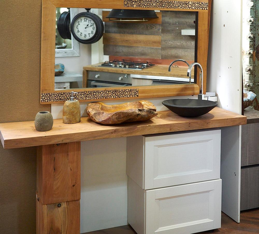 Nuovi mondi cucine arredo bagno consolle in legno massello - Specchio in legno ...