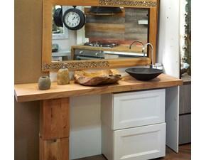 mobile consolle bagno design legno e white shabby chic in offerta completo con specchio in legno come il piano bagno