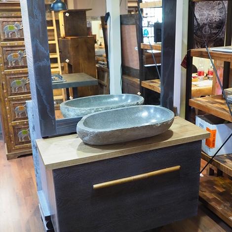 outlet Nuovi Mondi Cucine  Mobile bagno anta a ribalta in legno colore wenghe scuro modello exotica in offerta  scontato del -47 %