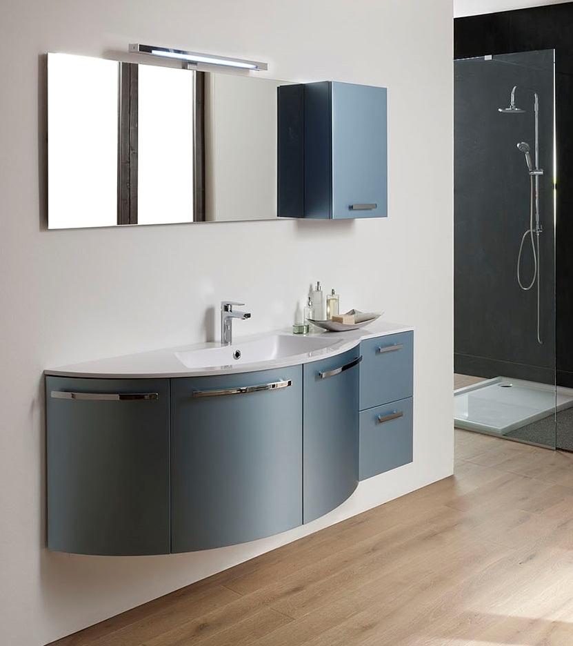 Offerta mobile arredo bagno sospeso laccato metallizzato for Offerta mobili bagno