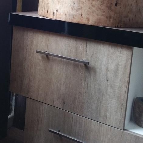 Outlet Etnico Mobile bagno due ante colore essenza rovere crudo con specchio in radice di teak ...