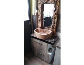 Mobile bagno due ante colore  essenza rovere crudo con specchio in radice di teak
