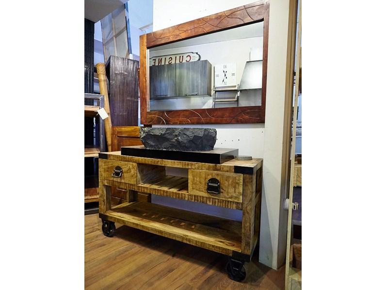 Mobile bagno industrial legno indi con ruote ghisa old factory in offerta scontato del 37 %
