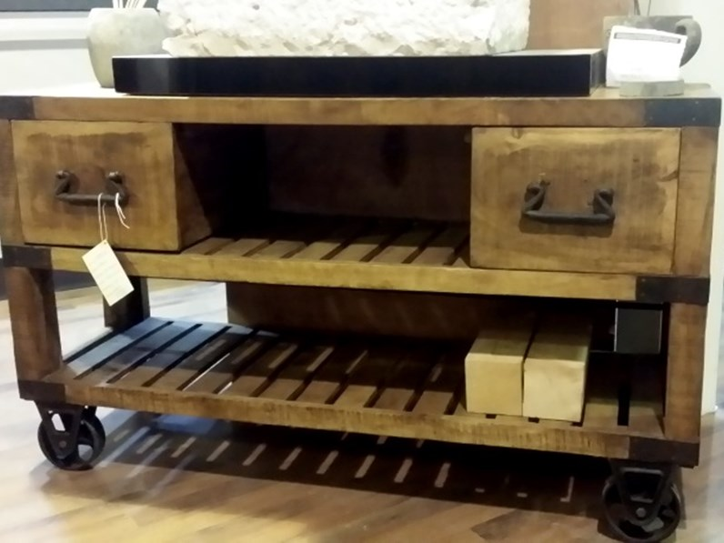 Mobile bagno industrial legno indi con ruote ghisa old factory in ...