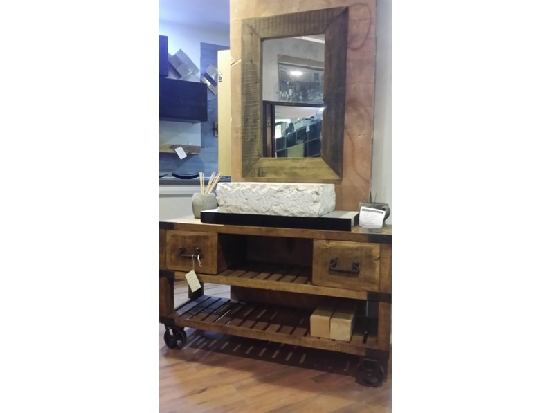 Mobile bagno industrial legno indi con ruote ghisa old factory in