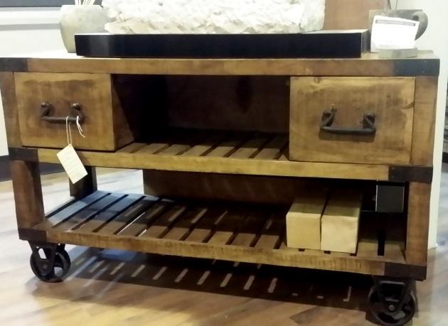 Mobile bagno industrial legno indi con ruote ghisa old factory in offerta scontato del -37 % ...