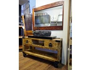 Mobile bagno recicle industrial con ruote iron india design ferro e legno in offerta nuovimondi