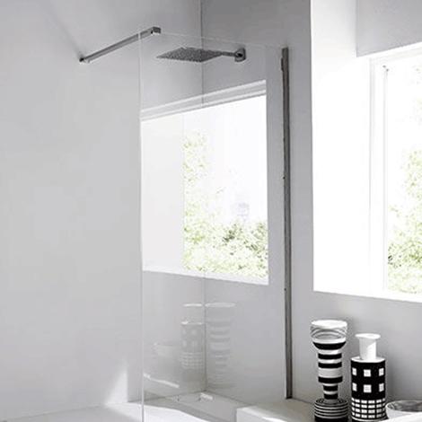 Parete paraschizzi doccia in vetro e acciaio unico by rexa - Parete in vetro prezzi ...