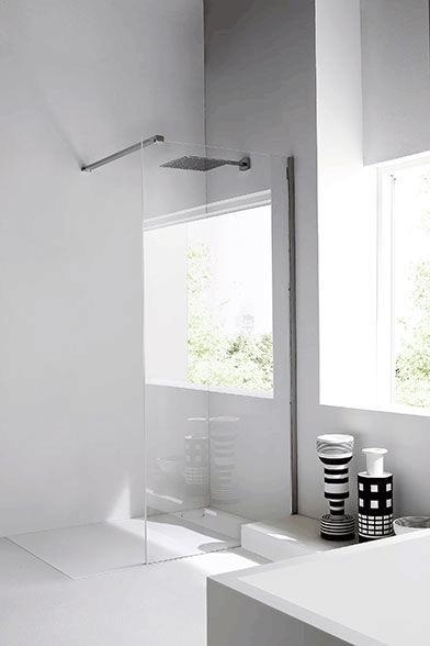 Parete paraschizzi doccia in vetro e acciaio Unico by REXA - Arredo ...