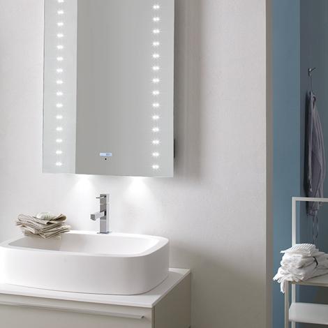 Specchio da bagno a led con lettore mp3 arredo bagno a for Specchio bagno led integrato