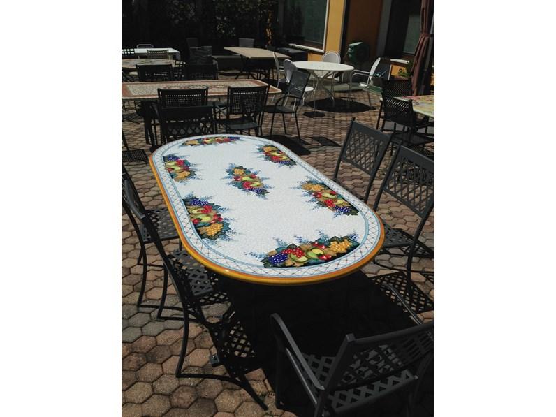 Deruta Tavoli Da Giardino.Ceramiche Deruta Tavolo Ovale 200 X 100