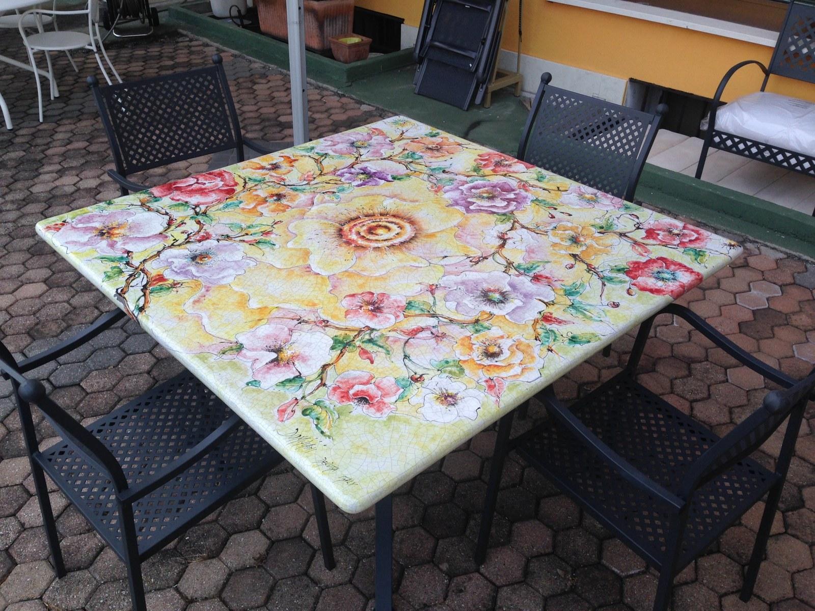 Domiziani roberto tavolo 140 x 140 ceramica deruta for Arredo da giardino prezzi