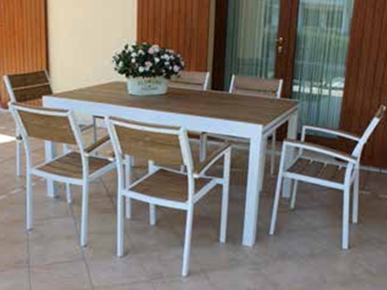 Cayman allungabile 160 240 bianco cosma outdoor living for Arredo giardino on line outlet