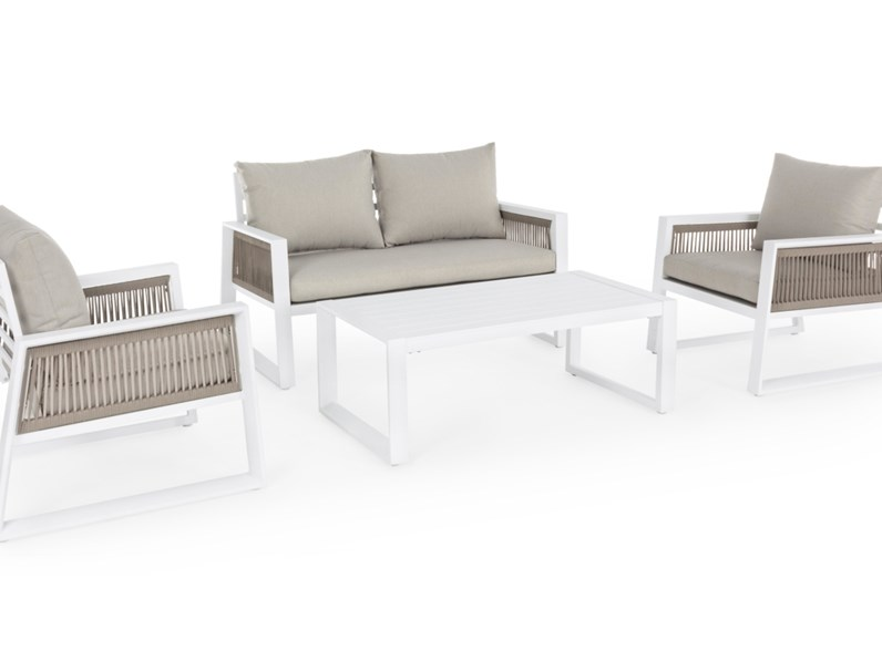 Divano da giardino bizzotto salotto captiva bianco con for Cuscini arredo giardino