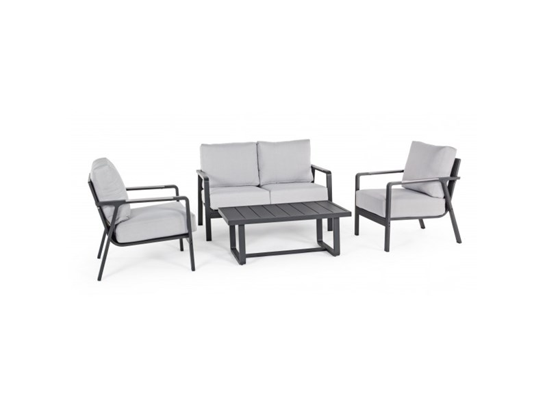 Salotto antares antracite set4 bizzotto divano da for Arredo giardino mercatone uno