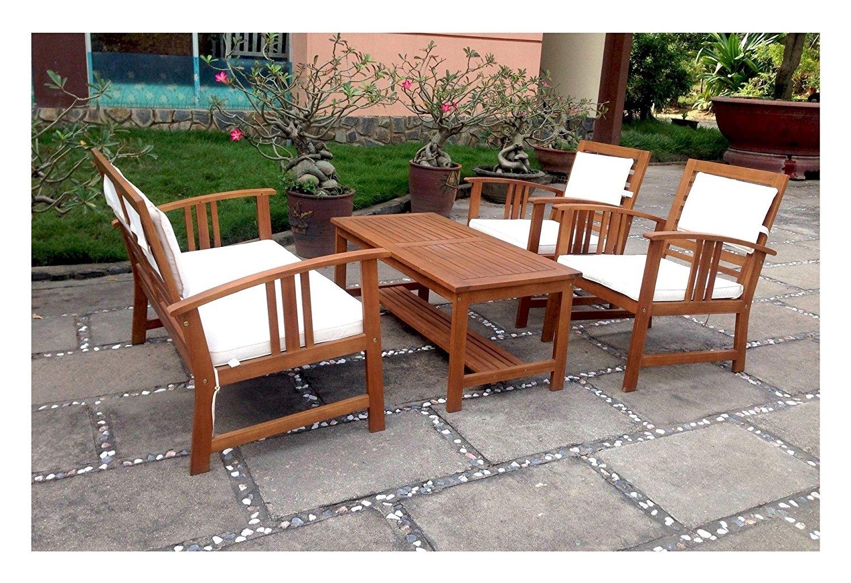 Salotto da giardino in legno set 4 pezzi modello cortina for Arredo giardino legno