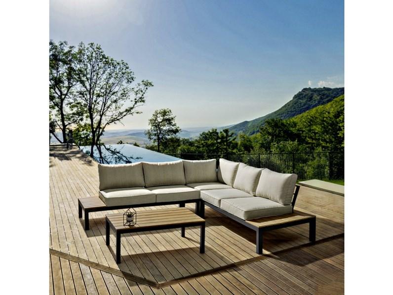Salotto elias angolare antracite bizzotto divano da for Arredo da giardino in offerta