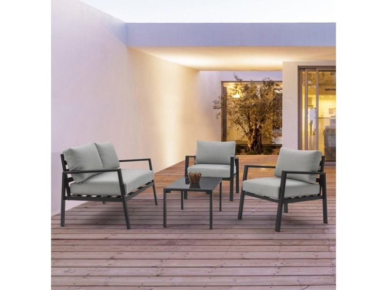 Salotto koral antracite bizzotto divano da giardino in for Mondo convenienza arredo giardino