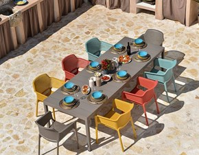 Set tavolo rio alu 210/ 280 + 8 sedie nat multicolore  Nardi outdoor: set a prezzo Outlet
