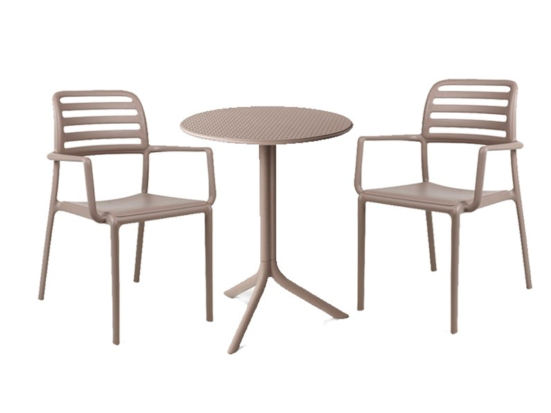 Tavoli E Sedie Da Giardino Nardi.Tavolo Da Giardino Step 60 Cm Con 2 Sedie Costa Tortora Nardi