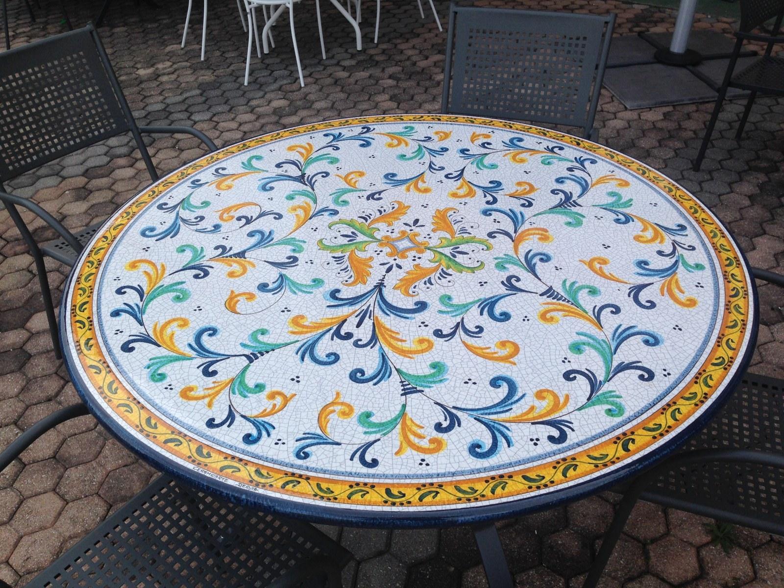 Decorazione montagna terrazza for Tavolo rotondo mosaico