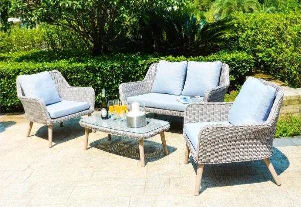 Twist salotto da esterno set 4 pezzi in alluminio e for Set arredo giardino
