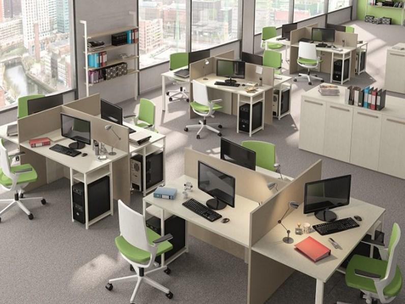 Scrivania operativa a tre postazioni angolare targata san for Mobili ufficio outlet