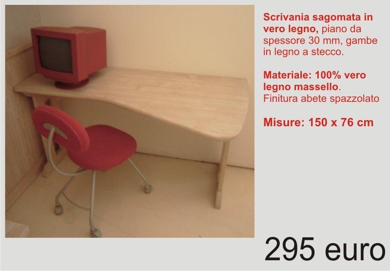Scrivania sagomata in legno massello scandola mobili for Camerette in legno massello