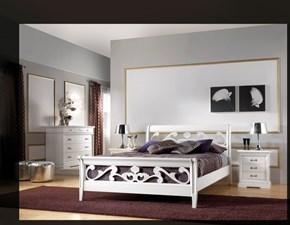 letto modello bassano, traforato e intagliato a mano, laccato bianco