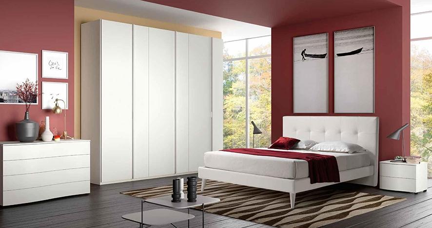 Camera completa con letto con testiera in ecopelle nuova - Testiera letto ecopelle ...